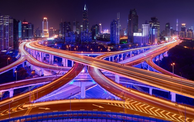 Shanghai City Bridges Road Light China (click to view)