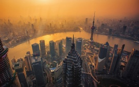 Shanghai Cityscape At Sunset