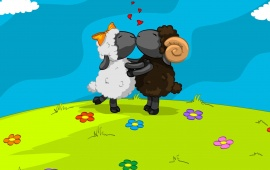 Sheeps Valentine Kiss