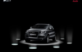 Silver Audi Q7 on stage