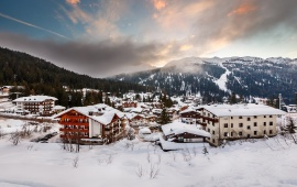 Ski Resort Of The Morning Italian Alps