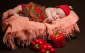 Sleeping Baby And Red Mirchi