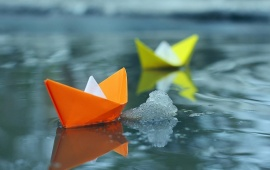 Small Paper Boats In Water