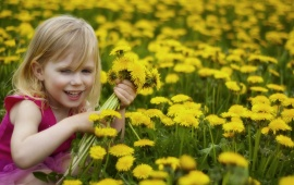 Smiley Girl In Flower Garden