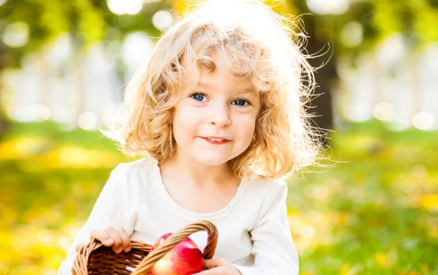 Smiling Child With Basket Of Red (click to view)