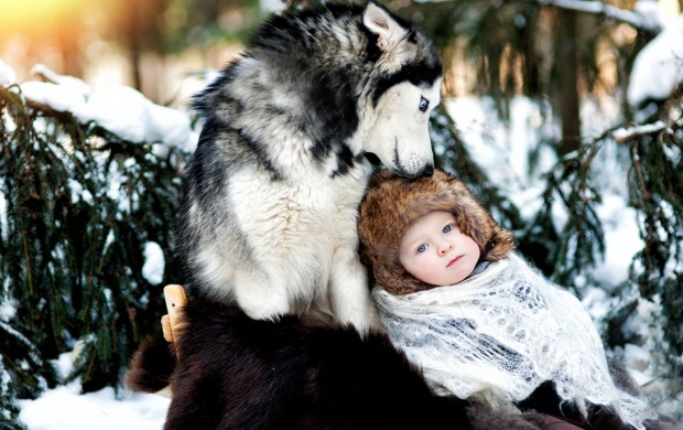 Snow Baby And Wolf (click to view)