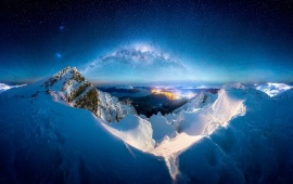 Snow Mountains Night Milky Way