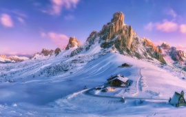 Snowed Mountain In Pink Light