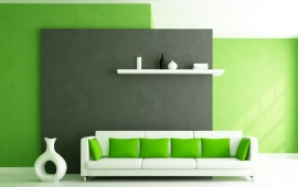 Sofa And Pillows In Green Interior
