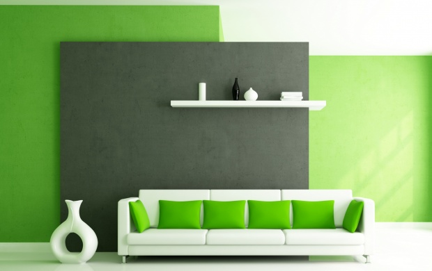 Sofa And Pillows In Green Interior (click to view)