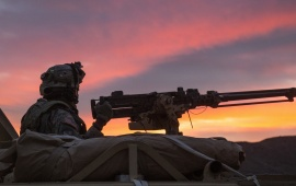 Soldier Machine Gun Sunset