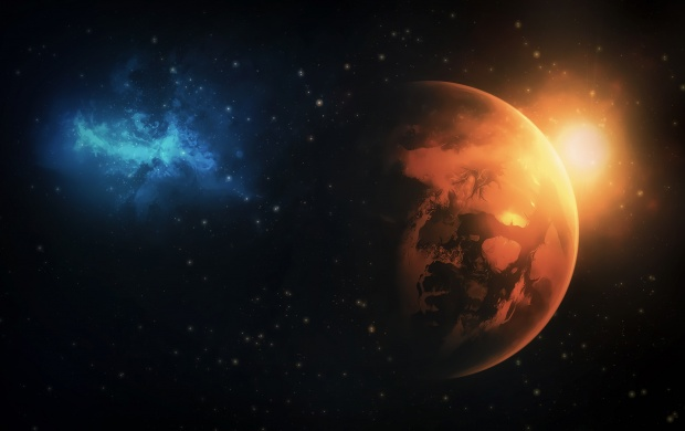 Space Sunrise And Night (click to view)