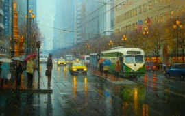 Street City Rain Tram People Umbrellas