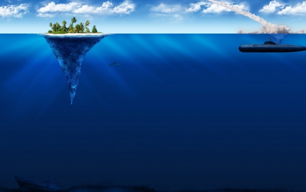 Submarine and Small Island (click to view)