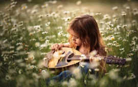 Summer Girl Playing Mini Guitar