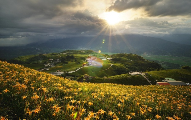 Sun Lighting the Green Hills (click to view)