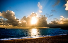 Sun Rays on Empty Beach