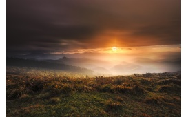 Sunlight And Mist Above The Hills