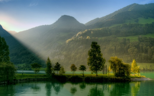 Sunlight Over Mountain Lake (click to view)