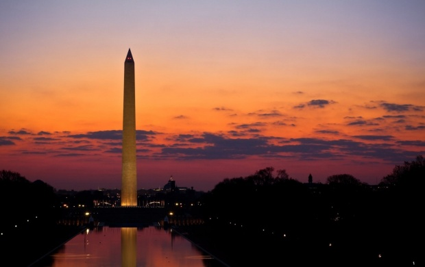 Sunrise Warm Washington Monument (click to view)