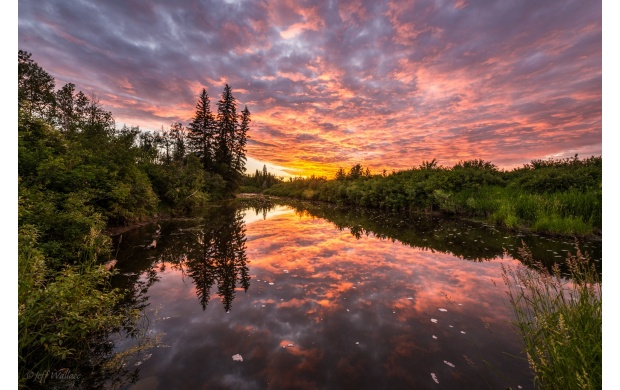 Sunset And Clouds Lake Reflection (click to view)