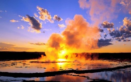Sunset And Geyser