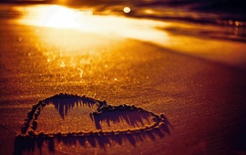 Sunset Beach Sand Heart Love