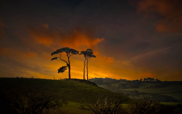 Sunset Clouds Hills Trees (click to view)