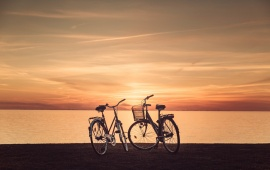 Sunset Couple Bicycle At Lake