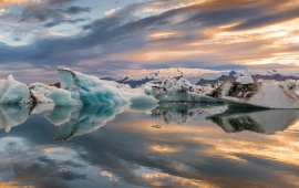 Sunset Iceberg Reflection
