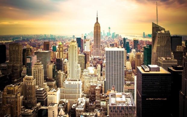 sunset new york city usa skyscrapers t3