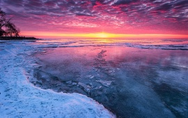 Sunset On A Frozen Lake