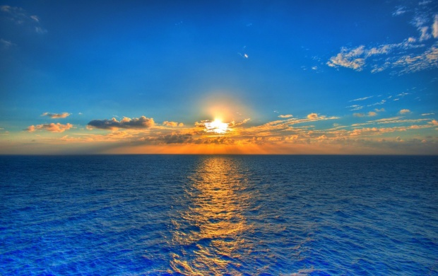 Sunset On Blue Sea Water (click to view)