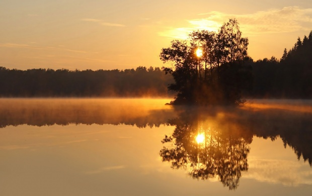Sunset Over a Misty Lake (click to view)