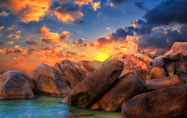 Sunset Over The Rocky Beach (click to view)