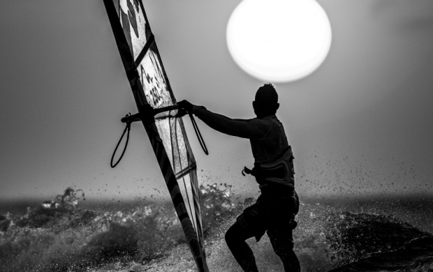 Sunset Windsurfing (click to view)