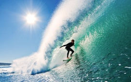 Surfer On Perfect Blue Wave
