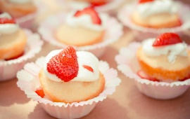 Sweet Cup Cake On Strawberry