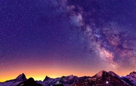Switzerland Mountains Sky Stars