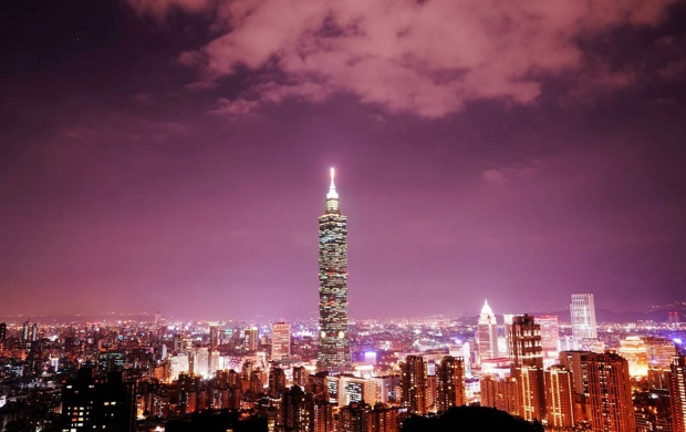 Taipei 101 Tower City Light Skyline (click to view)