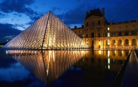 The Louvre Pyramid At Blue Hour