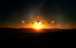 The Plane Light Sunset Landscape
