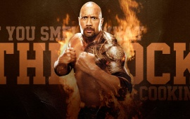 The Rock With Fire Background