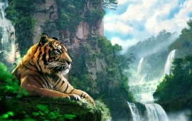 Tiger Forest Waterfall Art