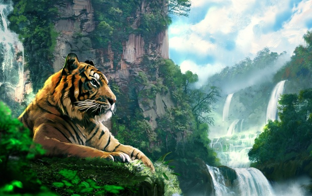 Tiger Forest Waterfall Art (click to view)