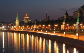 Town Night River Lighting Moscow