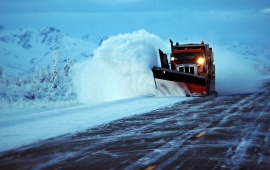 Truck Plowing Road Snow