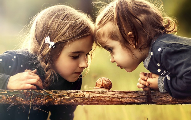 Two Girl Watching Snail (click to view)