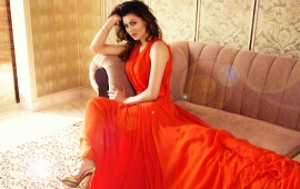 Urvashi Rautela Wearing Orange Dress