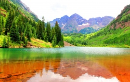USA Mountains Lake Fir Maroon Bells